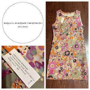 AQUILANO RIMONDI Silk Floral Print Shift D…